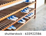 Shoe Rack With White And Blue...