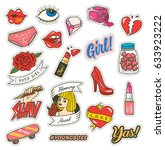 set of fashion cute patches... | Shutterstock .eps vector #633923222