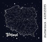 poland  map  constellation ... | Shutterstock .eps vector #633925595