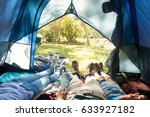 low section of family sleeping... | Shutterstock . vector #633927182