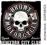 skull vintage motorcycle logo... | Shutterstock . vector #633928322