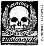 vintage biker skull emblem tee... | Shutterstock . vector #633929678
