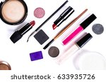 cosmetics and brushes on a... | Shutterstock . vector #633935726