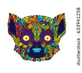 ornament face of colorful lemur ... | Shutterstock .eps vector #633941258