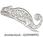 chameleon animal coloring book... | Shutterstock .eps vector #633948992