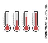 red thermometers. vector... | Shutterstock .eps vector #633949706