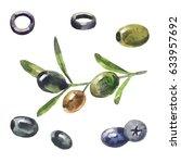 olives  black olives in...   Shutterstock . vector #633957692