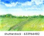 hand drawn watercolor... | Shutterstock . vector #633966482