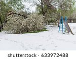 Small photo of Climate change. Snow in summer. Falling snow in early May broke the blossoming trees