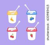 yogurt   many fruits isolated....   Shutterstock .eps vector #633985415