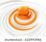 milk swirl with caramel candy | Shutterstock .eps vector #633993986