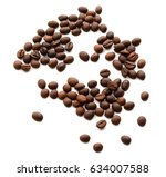 coffee beans isolated on white... | Shutterstock . vector #634007588