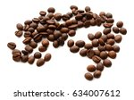 roasted coffee beans on white... | Shutterstock . vector #634007612