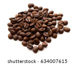 coffee grains and leaves... | Shutterstock . vector #634007615