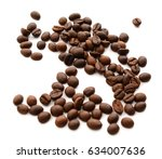 coffee beans isolate on white... | Shutterstock . vector #634007636