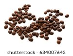 coffee beans isolated on white... | Shutterstock . vector #634007642