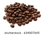 coffee beans. isolated on a... | Shutterstock . vector #634007645