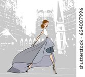 fashionable beautiful girl in... | Shutterstock .eps vector #634007996