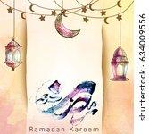 ramadan kareem arabic... | Shutterstock .eps vector #634009556