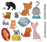 cute cats character different... | Shutterstock .eps vector #634015568