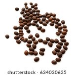 roasted coffee beans isolated... | Shutterstock . vector #634030625