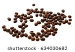 roasted coffee beans isolated... | Shutterstock . vector #634030682