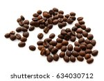 roasted coffee beans isolated... | Shutterstock . vector #634030712