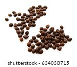 roasted coffee beans isolated... | Shutterstock . vector #634030715