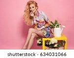 fashion photo of a beautiful... | Shutterstock . vector #634031066