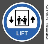 lift. round blue sign with... | Shutterstock .eps vector #634031492