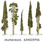 set of hand drawn trees italian ...   Shutterstock .eps vector #634035956