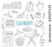 Stock vector laundry service hand drawn doodle icons set vector illustration washing drying and ironing 634037135
