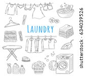 laundry service hand drawn... | Shutterstock .eps vector #634039526