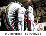 Small photo of BANGKOK, THAILAND - MAY 4, 2017 - AERONAUTICAL ENGINEER ARE DOING MAINTENANCE AIRCRAFT ENGINE IN CIVIL AVIATION CENTER ENGINE OVERHAUL SHOP.