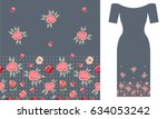 english roses. party dress... | Shutterstock .eps vector #634053242