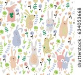 seamless pattern with cute... | Shutterstock .eps vector #634053668