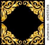 hand draw vintage gold  baroque ... | Shutterstock .eps vector #634055156