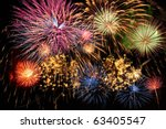 colorful fireworks of various... | Shutterstock . vector #63405547