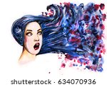 surprised woman face with blue... | Shutterstock . vector #634070936