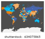 political map of world with... | Shutterstock .eps vector #634075865