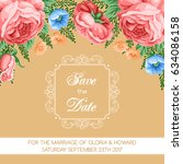 save the date card template... | Shutterstock .eps vector #634086158