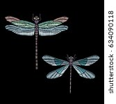 set of vector vintage dragonfly ... | Shutterstock .eps vector #634090118