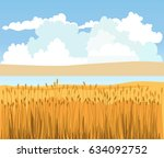 rural landscape with wheat... | Shutterstock .eps vector #634092752