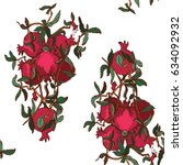 pomegranate pattern | Shutterstock .eps vector #634092932