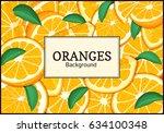 rectangular label on citrus... | Shutterstock .eps vector #634100348