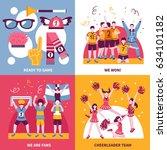 sport fans cheerleaders and... | Shutterstock .eps vector #634101182