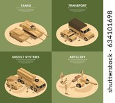 four square military vehicles... | Shutterstock .eps vector #634101698