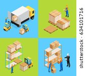 warehouse isometric... | Shutterstock .eps vector #634101716