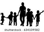 vector silhouette of happy... | Shutterstock .eps vector #634109582