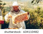 beekeeper collecting honey... | Shutterstock . vector #634110482